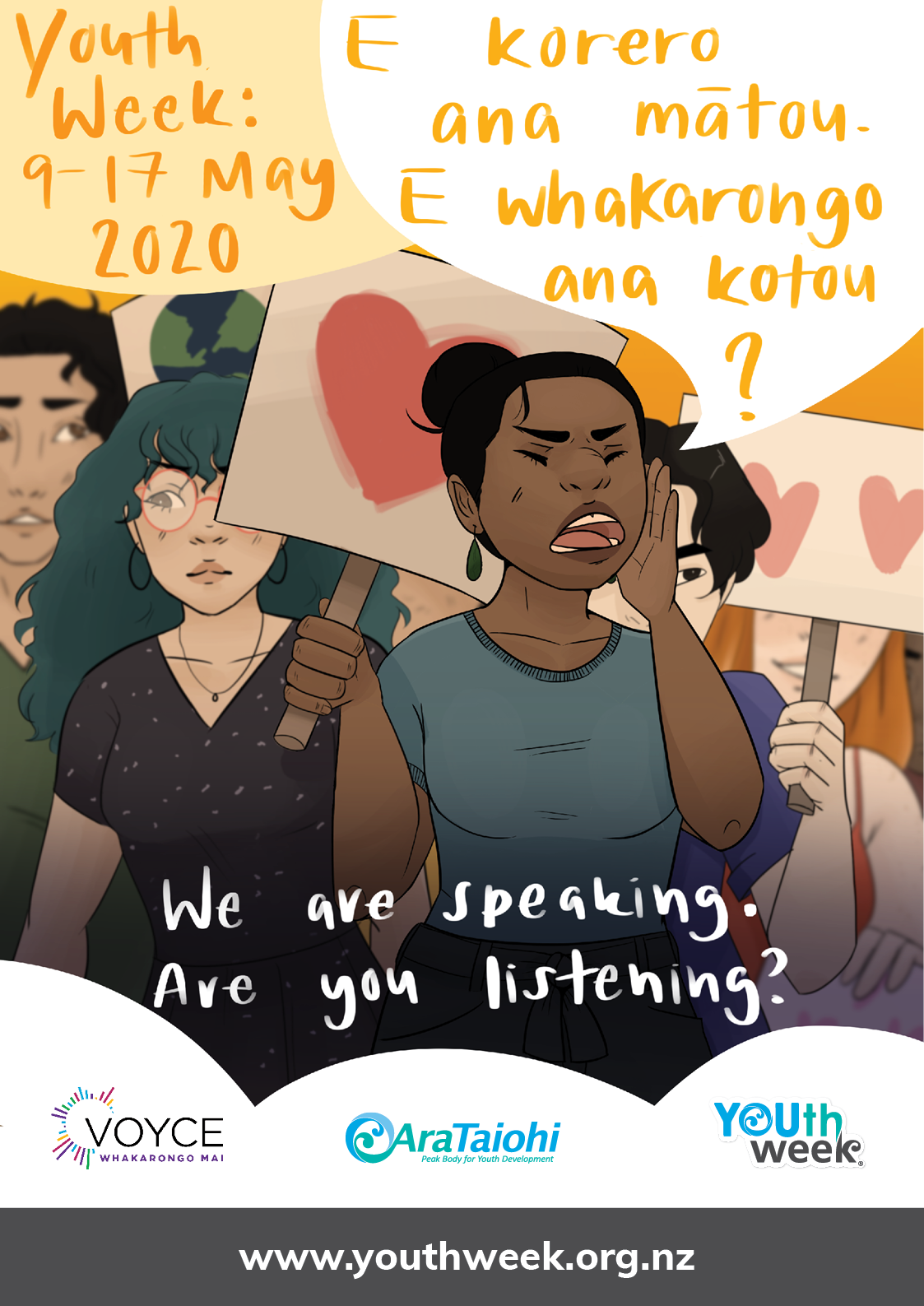 """young people are protesting and holding the placards with hearts on them, the lead young person is shouting out the theme: """"E korero ana mātou. E whakarongo ana koutou? We're speaking. Are you listening?"""""""
